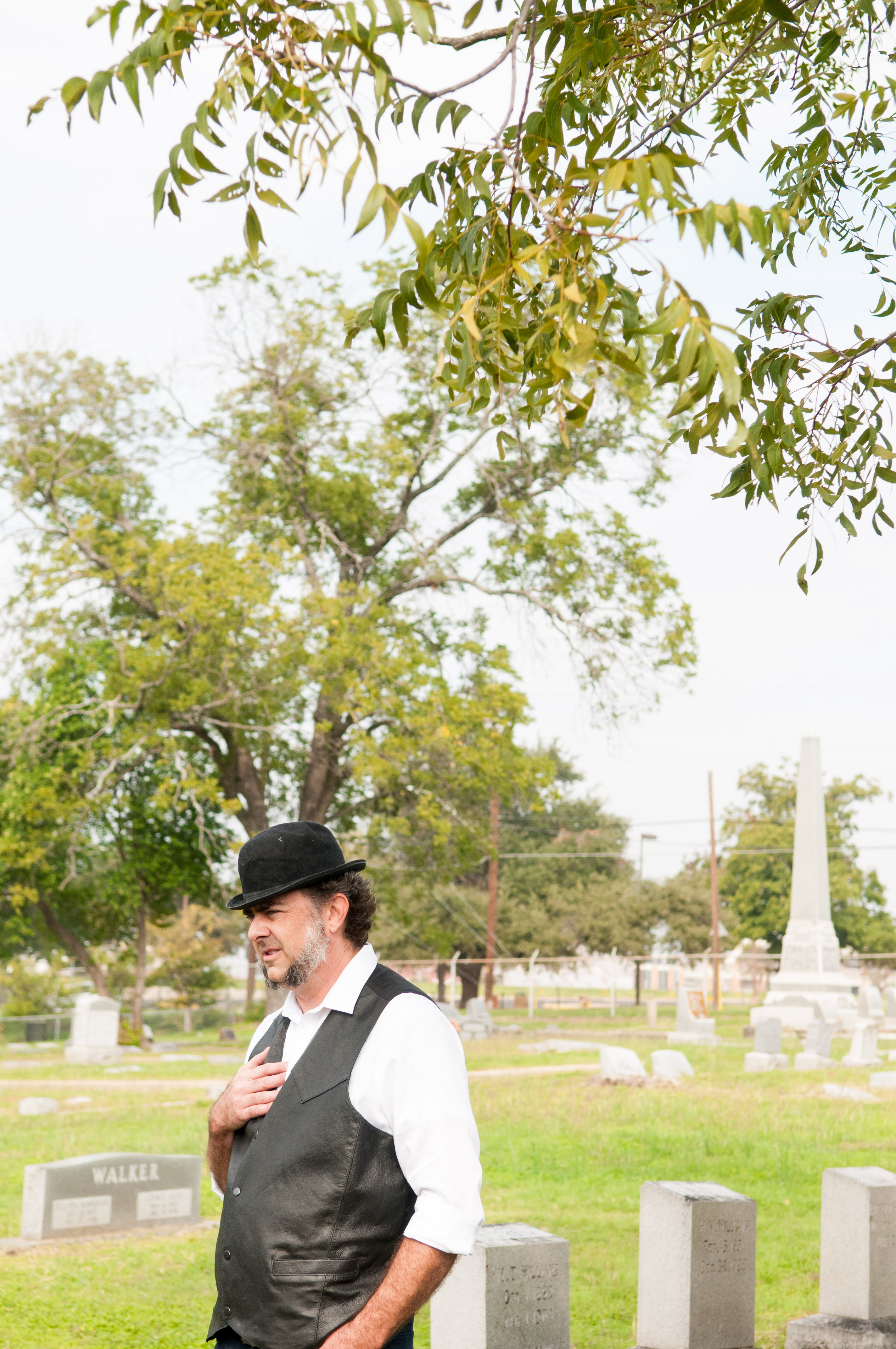 A storyteller shares his rehearsed story acting as the person buried at that grave. Photo by Skylar Isdale