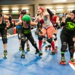 A Rhinestone Cowgirl yells to get the attention of her teammates.Photo by Skylar Isdale