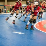The Rhinestone Cowgirls are getting warmed up on the track before the championship game.Photo by Skylar Isdale