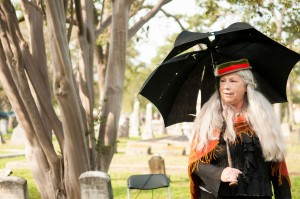A storyteller shares her rehearsed story acting as the person buried at that grave. Photo by Skylar Isdale