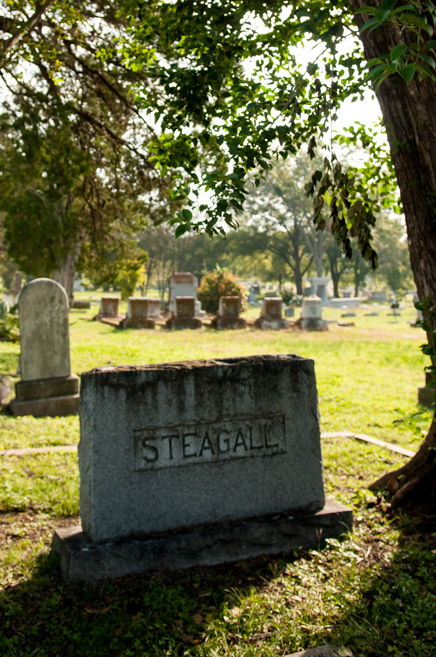 A headstone at the Oakwood Cemetery in Austin, Texas.