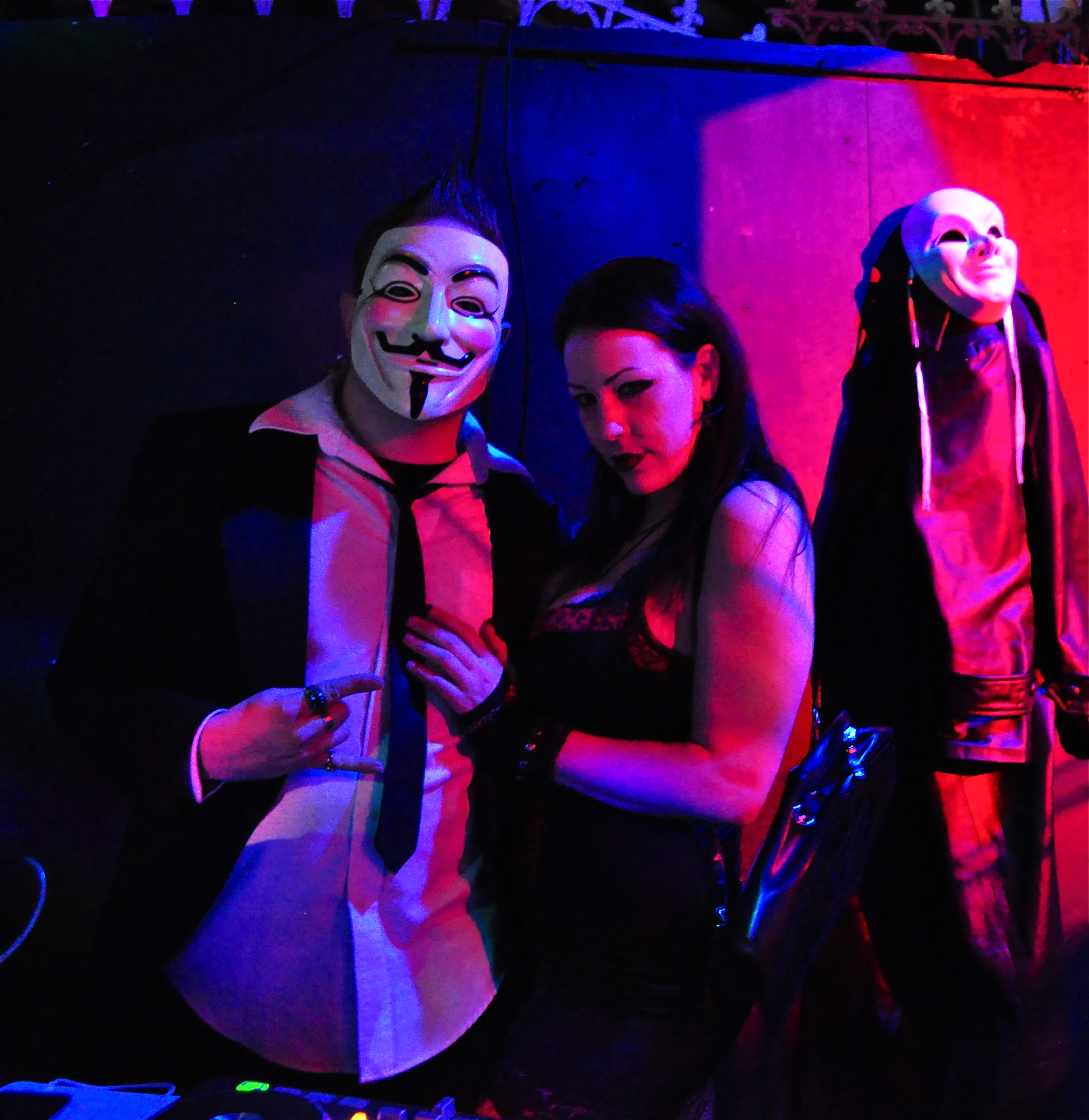 "The mysterious disk jockey dressed up as V from ""V for Vendetta."""