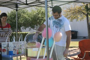 Cotton Candy was made onsite for festival-goers by Nathan Clements. Photo Credit: Kari Counter