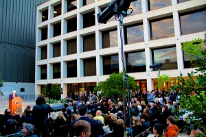 The ceremony took place on the Walker Cronkite Plaza, outside of the newly renamed college.
