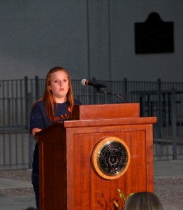 """Ashley Bigham, Communication Council President and public relations senior, spoke on behalf of all communication students. She said, """"As students, we have put our sweat and tears into this school. We have put our best efforts into our tests, our projects, and other challenges that we have been faced with…We already go to one of the best communication schools in the world – in fact, we are number two in the world – but now we have the privilege of saying that we attend the Moody College of Communication."""
