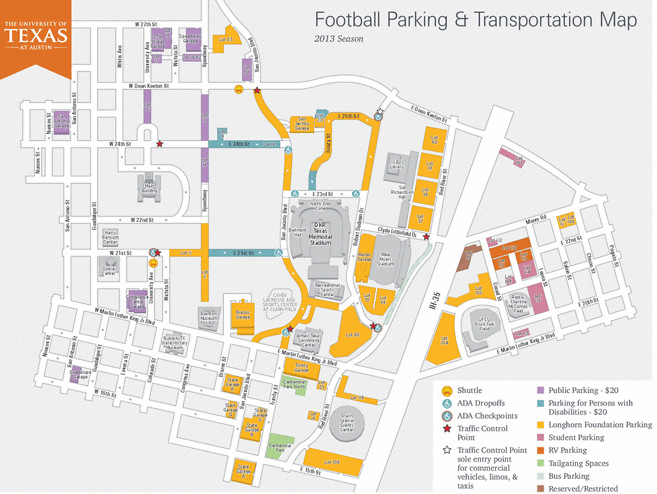Map of available parking during the 2013 Football season at UT-Austin.
