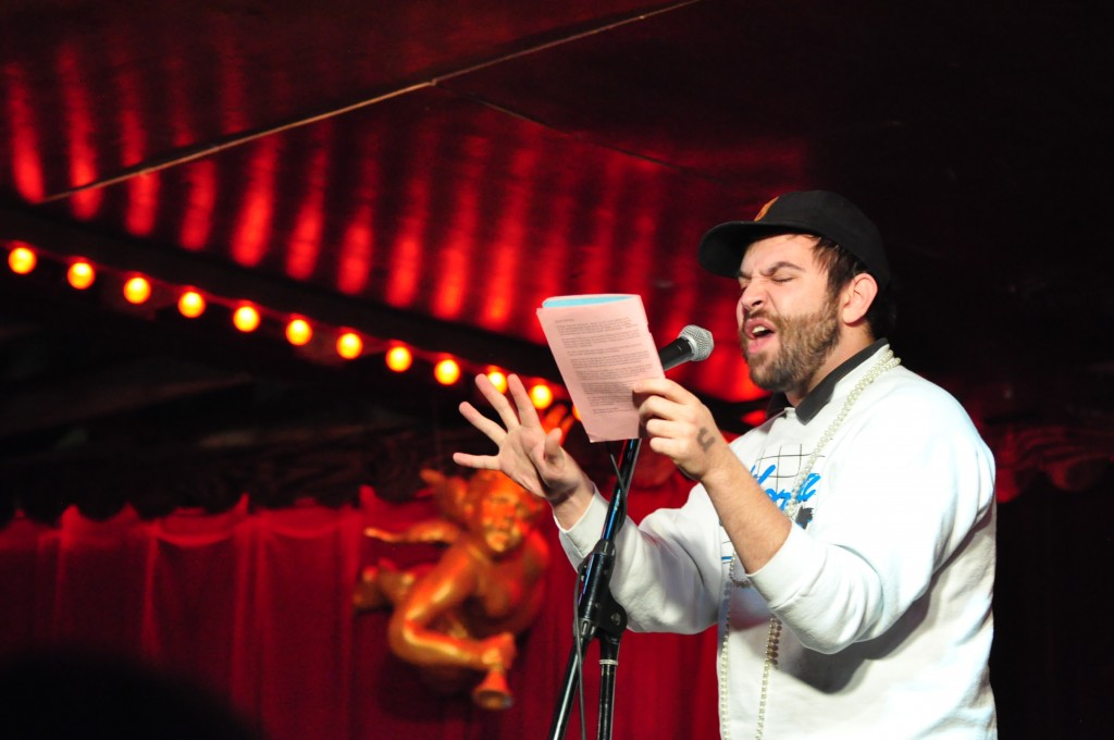 Sam Sax reads in the Austin Poetry Slam at Spider House Ballroom on Tuesday, Jan. 28.
