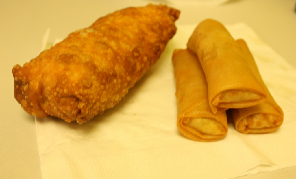 The angry egg roll on the left puts the small rolls usually found in restaurants to shame. Flukinger said that other places tend to treat the egg roll as an appetizer or side dish. Not his though.
