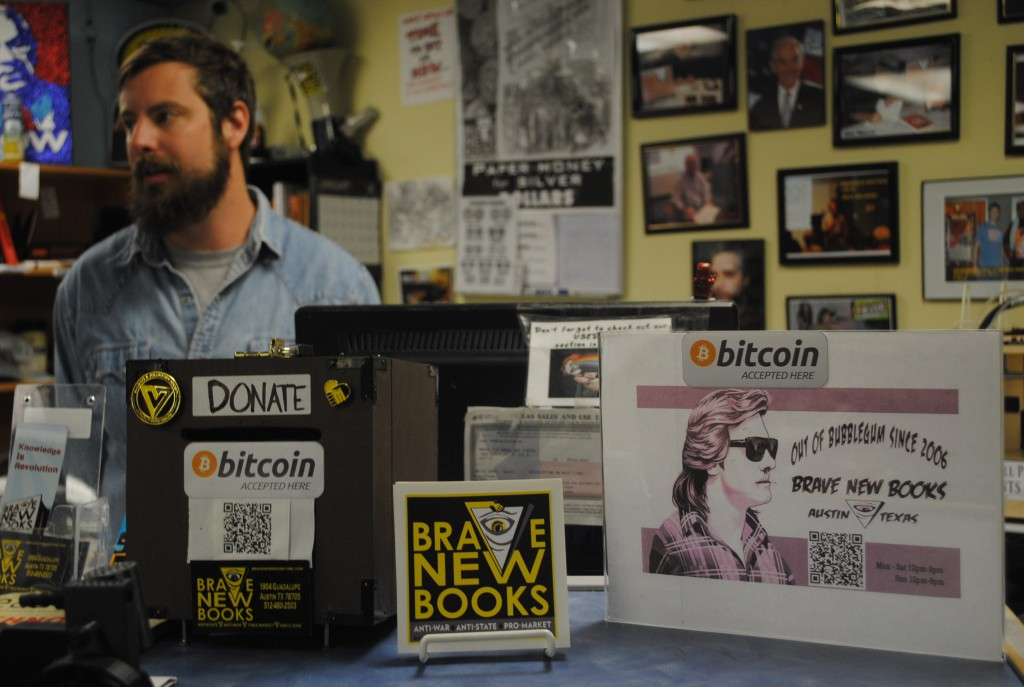 Harlan Dietrich, owner and founder of Brave New Books, an underground political bookstore, began accepting Bitcoin two years ago.