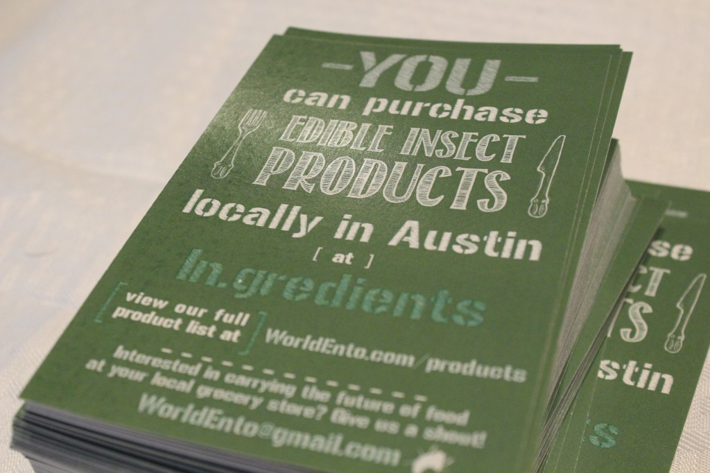 Just like other food products in Austin, one can purchase locally grown insect meals.