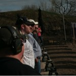 Students line up to their shooting stations to begin the gun range portion of the class. In order to pass the shooting portion, each student must score 175 out of 250 possible points. The students shoot in 3 different distances with 3-yard, 7-yard and 15-yard lines.