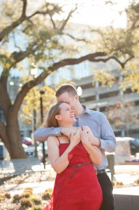 Hogan and Hight recently took their engagement pictures in downtown Houston, where they will be celebrating their wedding at Annunciation Catholic Church in June.