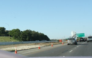 Construction begins on the express lane that will run northbound on Mopac.