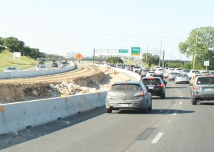 Construction on the express lanes. By Caroline Khoury.