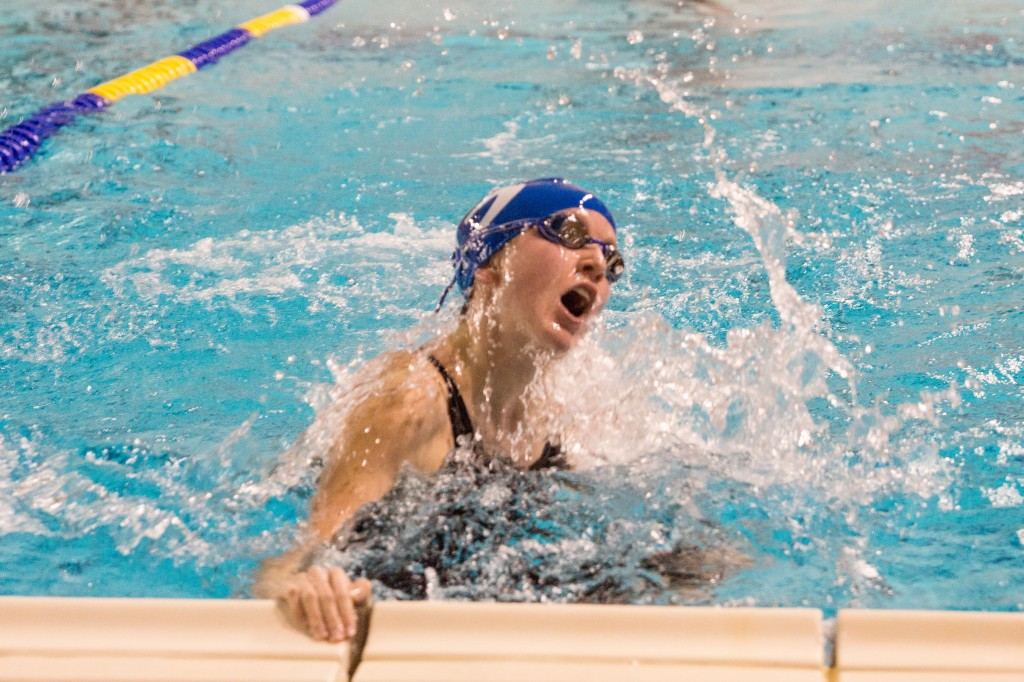 Barbosa swims breastroke at the TISCA, or Texas Interscholastic Swimming Coaches Association, championship swim meet.