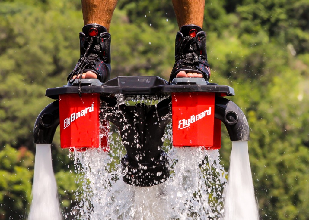 French jet ski racing champion Franky Zapata invented the Flyboard in spring of 2011. Flyboarding has grown popular in the U.S. The balance and ride of the Flyboard is often compared to a snowboard. Photo by Barbi Barbee.