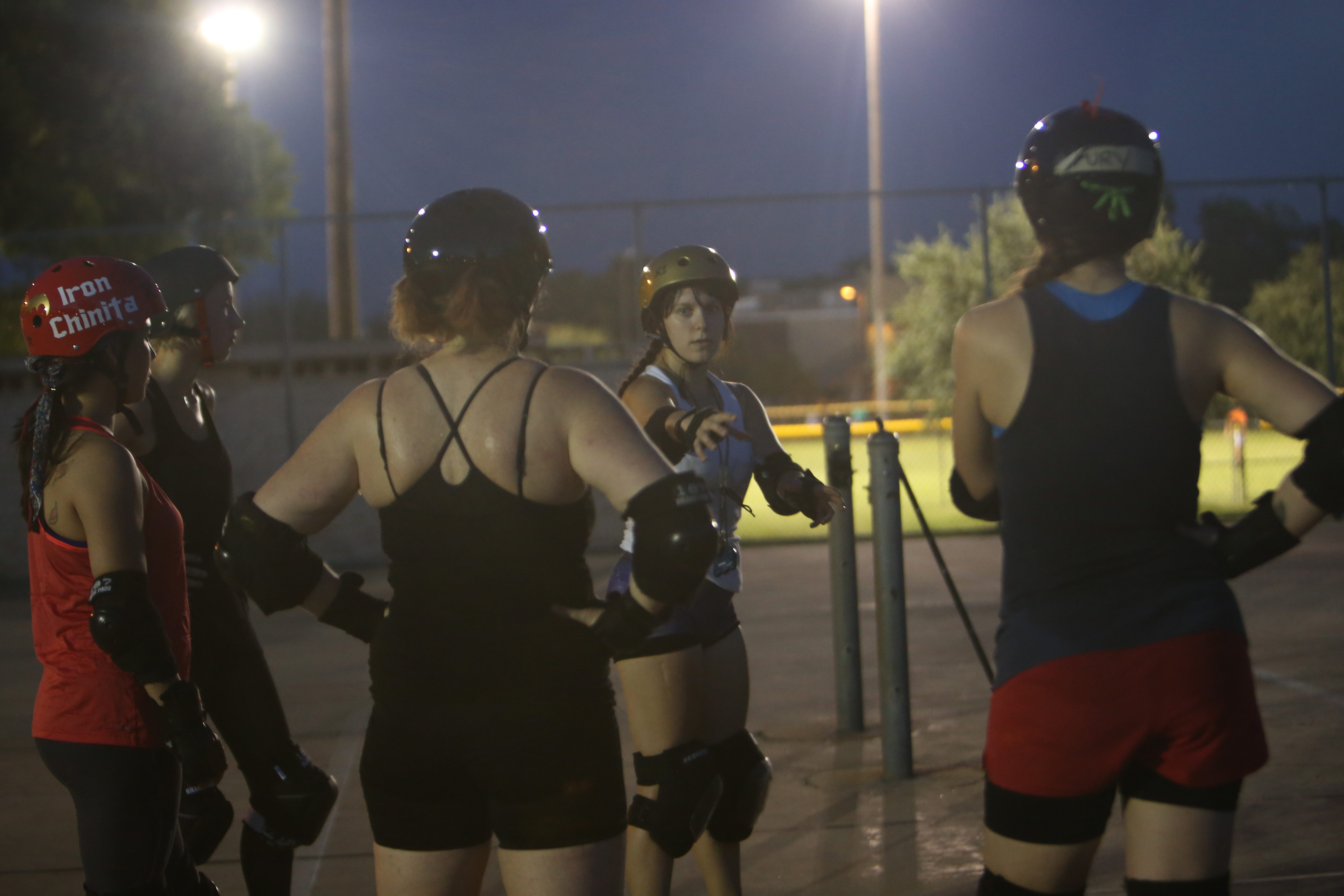 Teammates of Bat City Rebellion practice a new drill.
