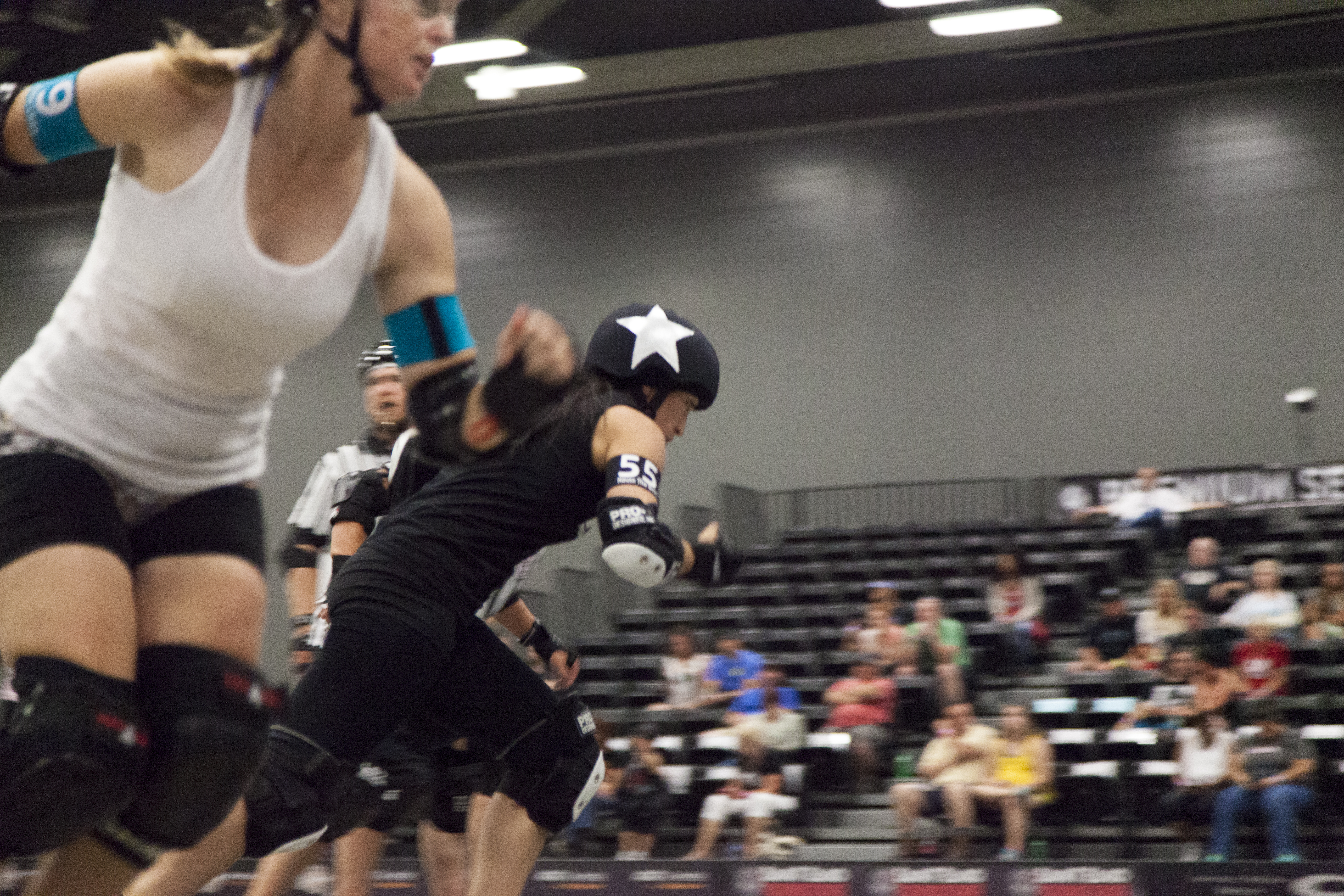 The jammer for Bar Belles gets out front in order to score points first against the Clean N Jerks.