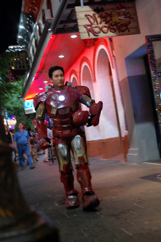 Lee often suits up as Iron Man to take photos with people on Sixth Street, meet up with other cosplayers, and score free drinks. Photo by ChinLin Pan.