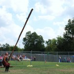 Mike Baab participates in the caber toss at the Austin Celtic Festival on Oct 19. In 2005, Baab won the Masters World Championship in the 45-49 age class.  Photo by Jared Wynne.