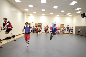 Jumping is a key way to prepare for Taekwondo practice. Photo by Heather Dyer.