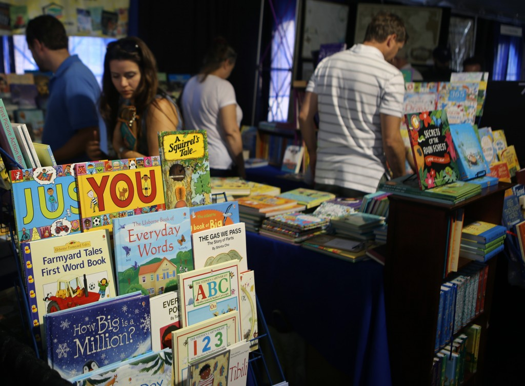 People browse through books at one of the tents at the Texas Book Festival Photo by Shelby Custer