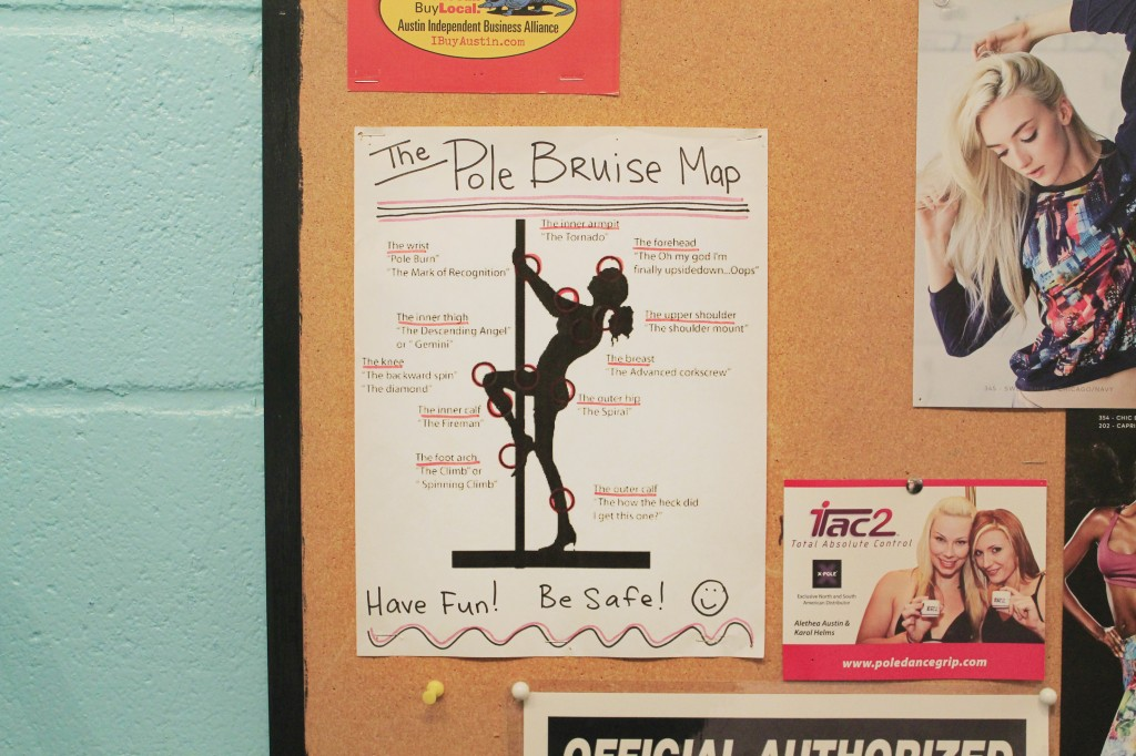 "A ""Pole Bruise Map"" is posted on the bulletin board at Brass Ovaries, showing body parts that are prone to bruising, which are widely referred to as ""pole kisses"" by the pole community. Brass Ovaries instructor, Sophie says that the pole kisses never fully go away, but that the longer a dancer practices, the more accustomed they get to the abuse. (Credit: Alex Vickery)"