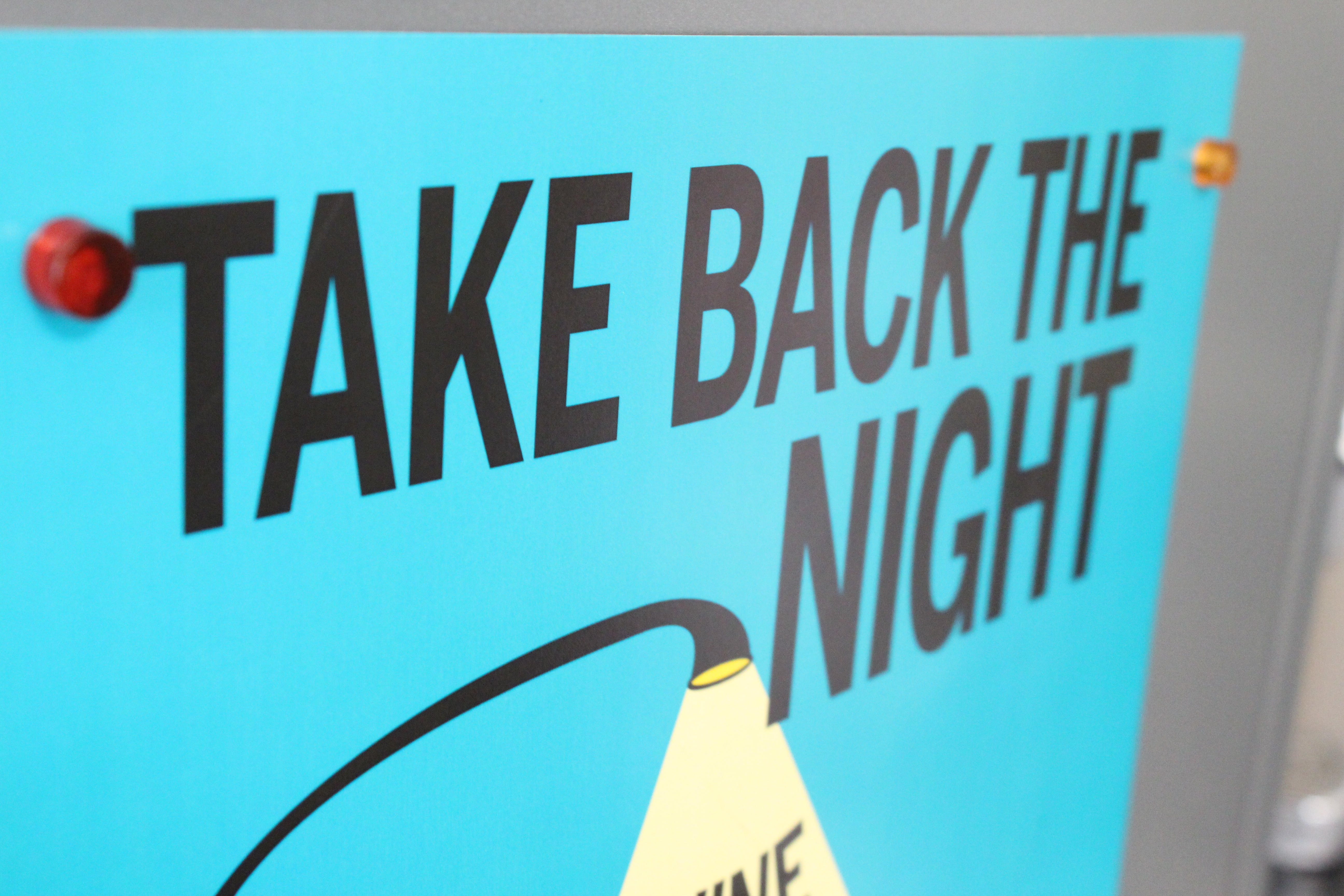 """Poster advertising Take Back The Night. Austin's """"Take Back the Night"""" rally will be held this upcoming April."""