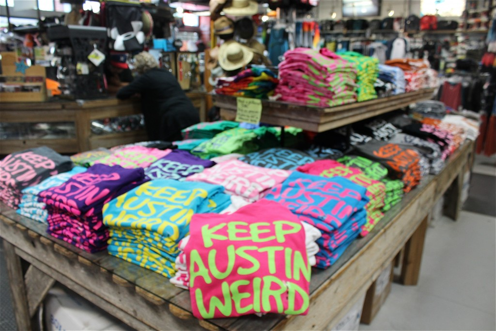 The iconic Keep Austin Weird shirts at Tyler's on Tuesday, March 10, 2015. (Photo/Brittanie Burke)