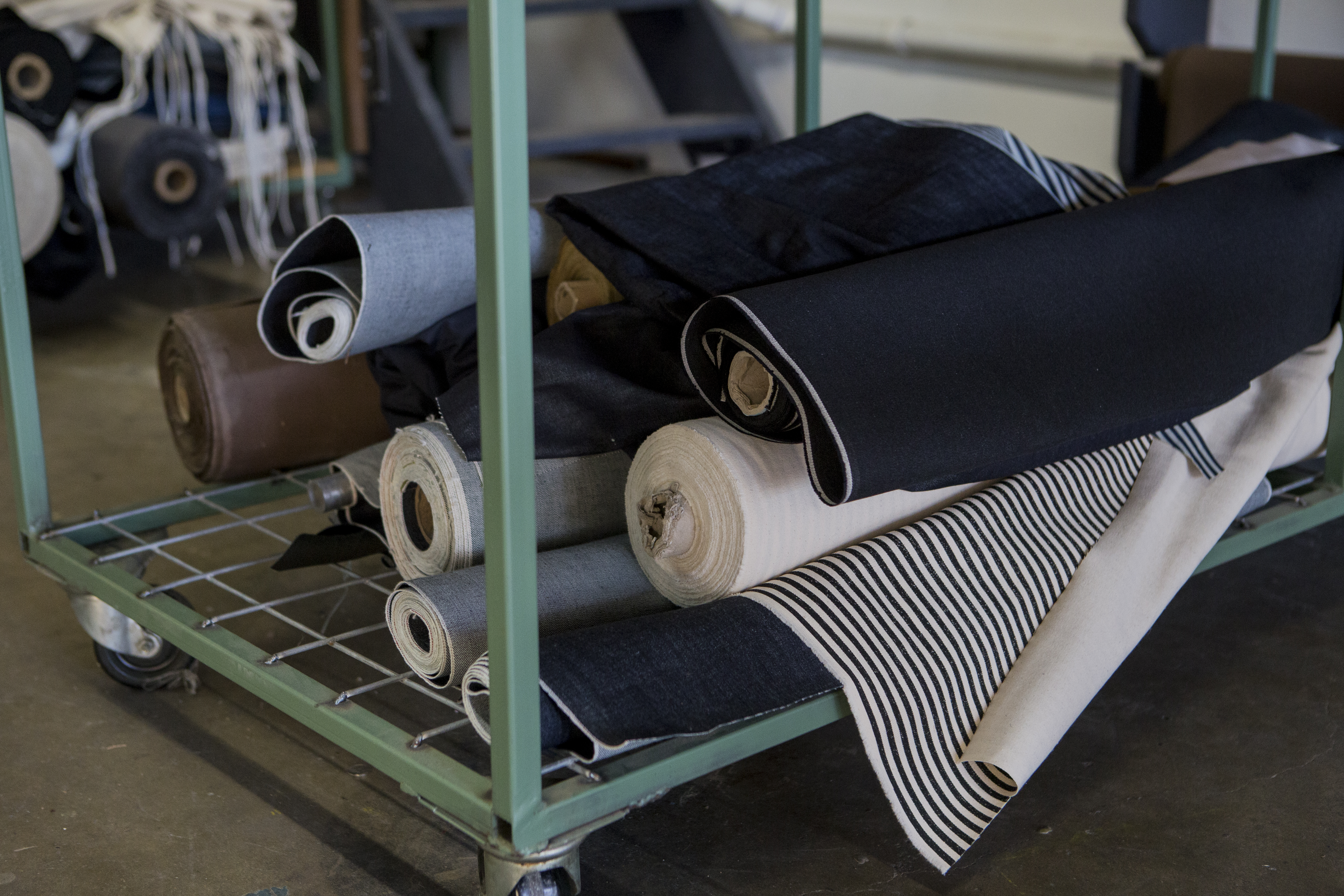 Denim fabric stored at the factory.