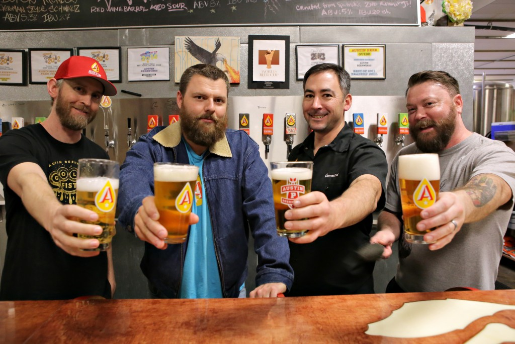 Austin Beerworks owners Michael Graham (far left), Adam Debower, Mike McGovern and Will Golden started ABW in 2011.