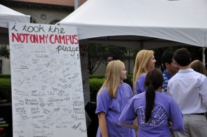 "Last month, an organization, ""Not on My Campus"" was formed at UT. Representatives from the group attended the event."