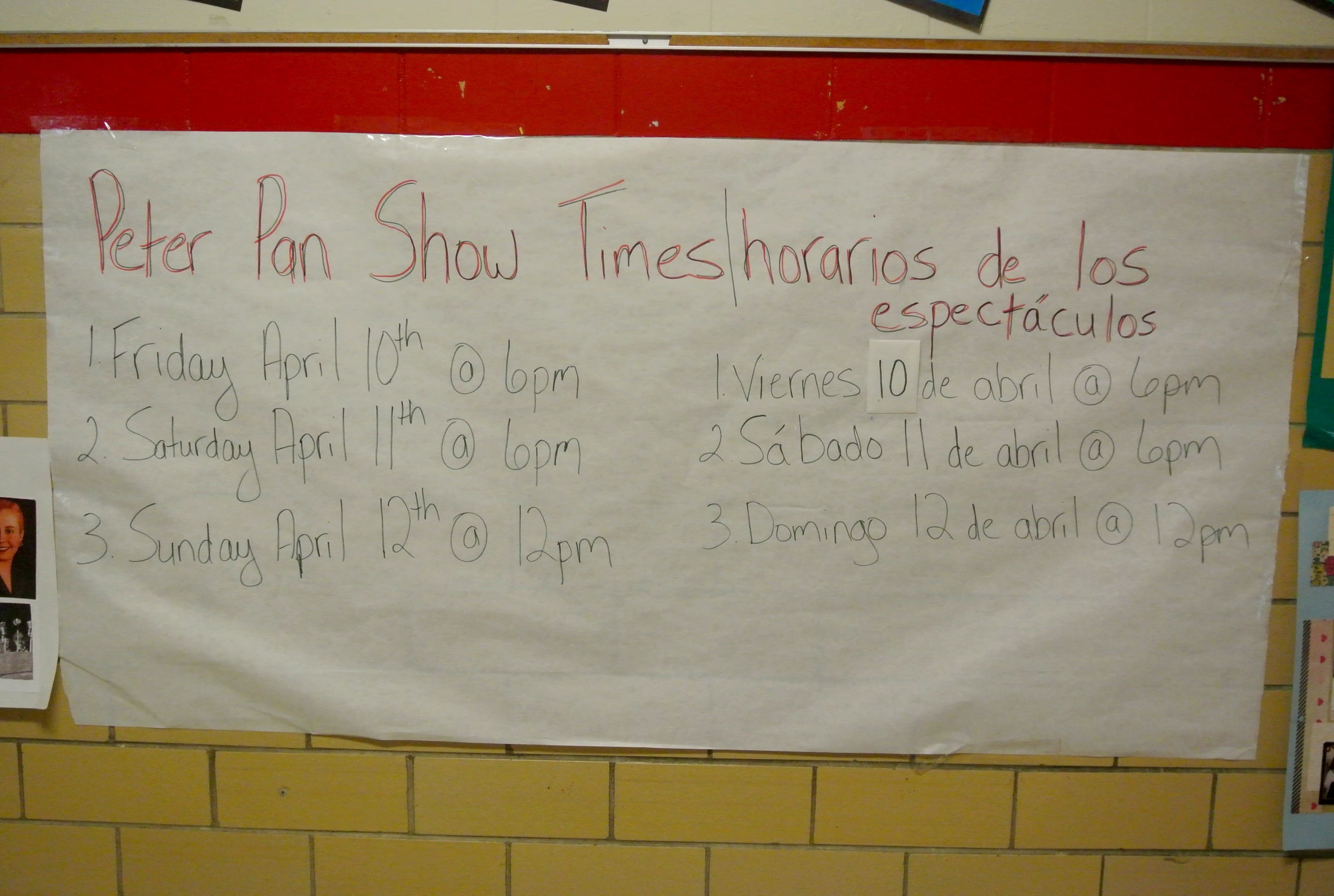 The Peter Pan show times.