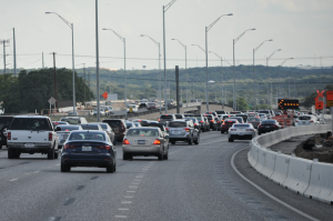 Cars heading southbound on Mopac become stuck in traffic due in part to the highway's expansion project.