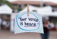 Event visitors had the opportunity to fill out cards with words of wisdom and encouragement for victims or sexual abuse and harassment.