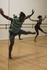 In addition to teaching a house dance class at Ballet Austin, Jason Vaughn also expresses his love of the sport by dancing in Pennie's West African class.