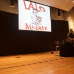 Lalo Alcaraz, chicano cartoon artist, introduces himself at the free teen workshop where he showed his political cartoons and a sneak peek of the new cartoon show, Border Town.
