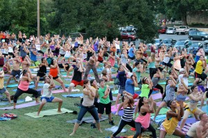 Yogis of all ages and experience levels come together at Barton Springs for an evening of refreshment and relaxation.