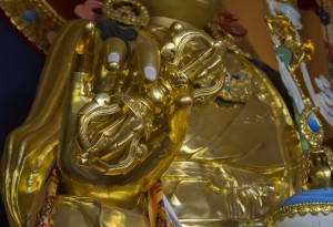 Vajras, meaning 'thunderbolt' and 'diamond', In Buddhism the Vajras destroys all kinds of ignorance and represents spiritual power, is itself as indestructible as a diamond.