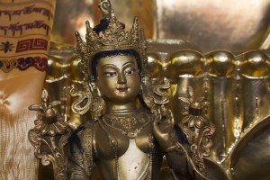 White Tara means a long life. Her mantra is often chanted with a particular person in mind. She's a representation of compassion, and she's pictured as being gifted with seven eyes (the palms of the hands, soles of the feet, and her forehead) that symbolize the watchfulness of the compassionate mind.