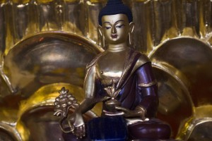 Buddha of healing and medicine, usually referred to as 'Medicine Buddha' he is described as the doctor who cures using the medicine of his teachings.