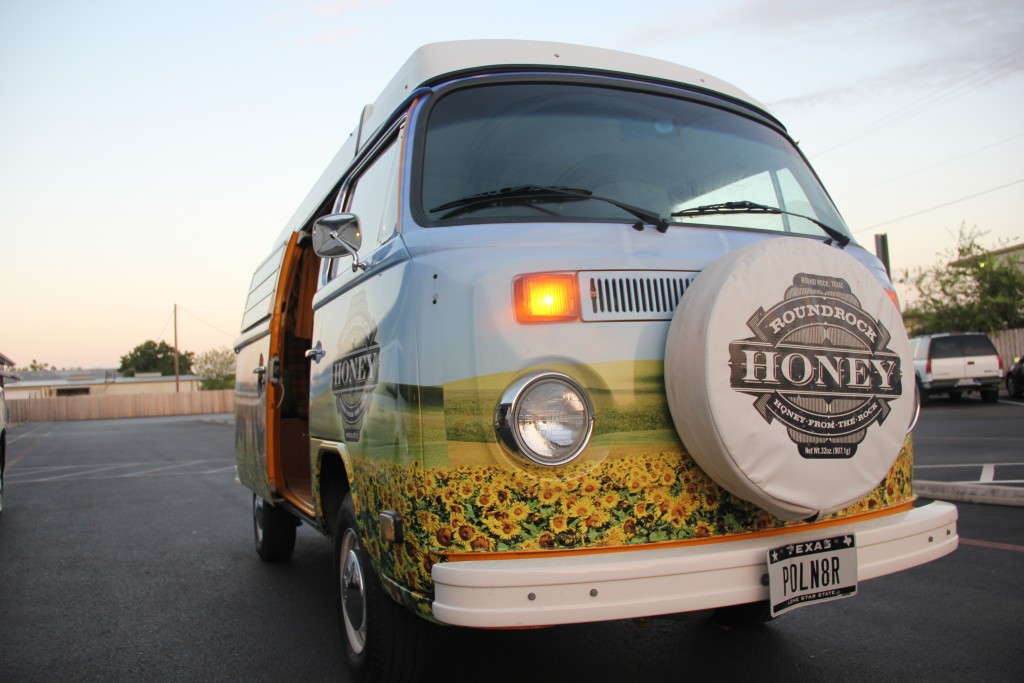 Round Rock Honey drives from hive to hive in style with their decorated van and personalized license plate. The family-owned and operated business not only produces the purest of wildflower honey but also educates future beekeepers and the general public.