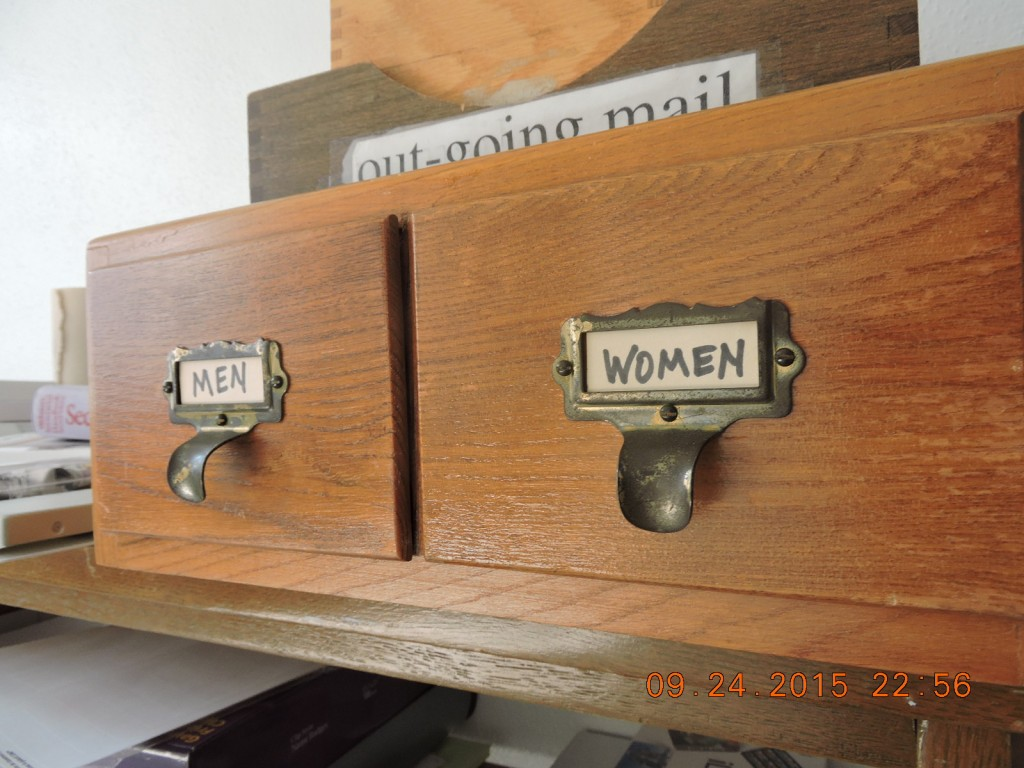 After Title Nine came into effect, it was required the gym provide lockers for men and women. The drawers held their locker assignments.