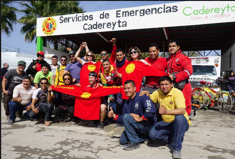 The members of BXB at one of their destinations in Mexico, standing in solidarity with union workers.