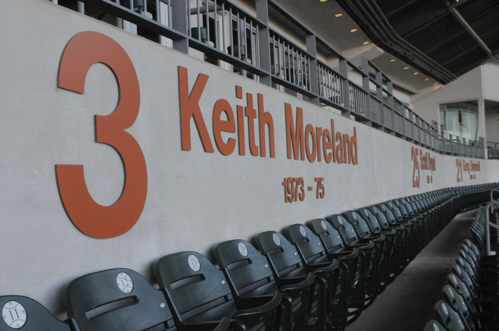 Six former Texas Baseball players have had their jersey numbers retired, including Keith Moreland who played Major League Baseball with the Philadelphia Phillies, Chicago Cubs, and San Diego Padres. He is now the color commentator for Texas baseball on the Longhorn Network.