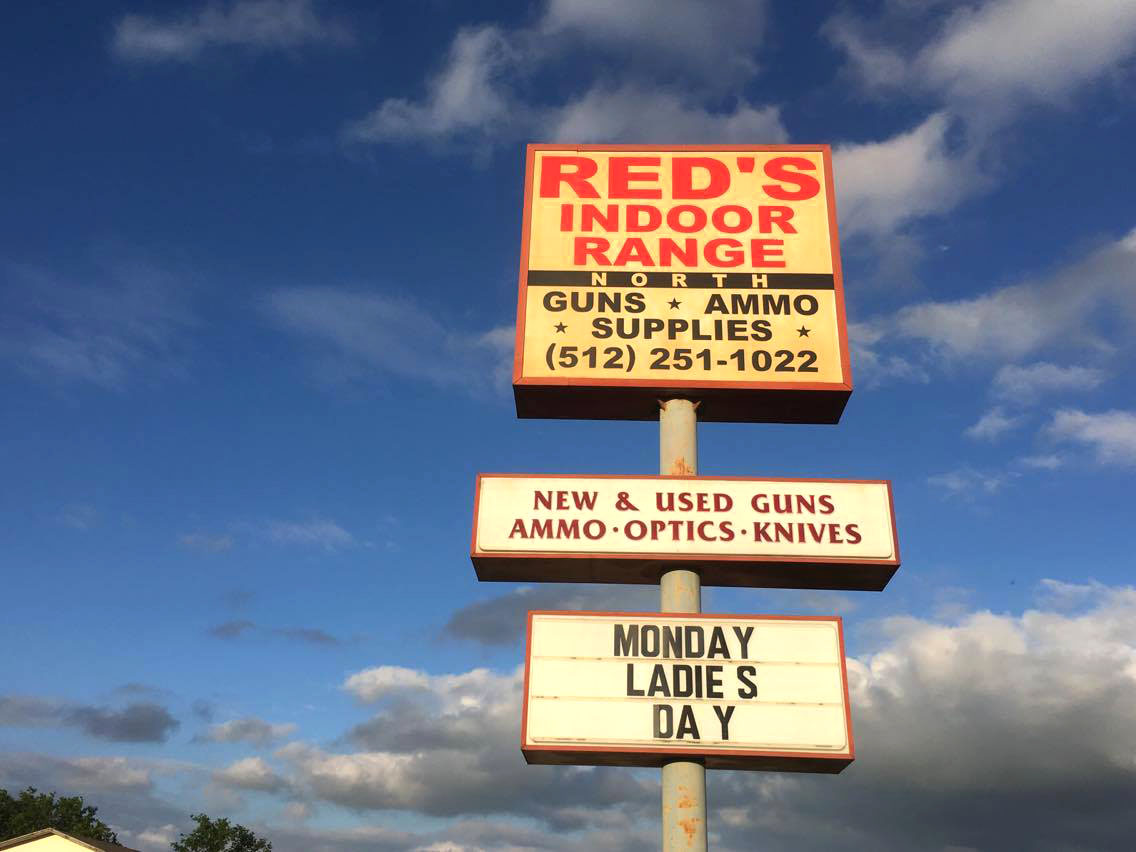 Sign at Red's Indoor Range (North)