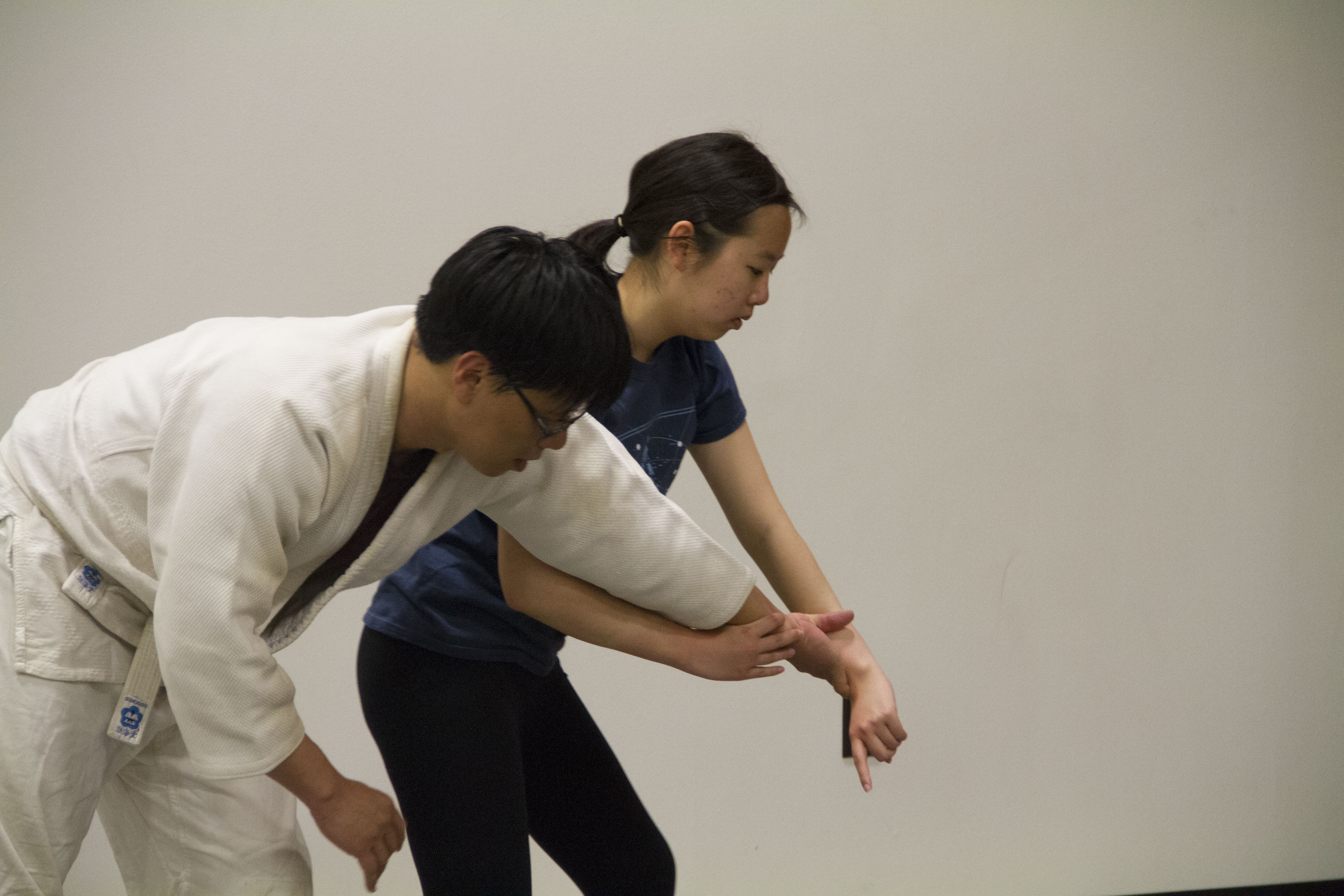 UT Aikido member Laura Chang practices a manuever.