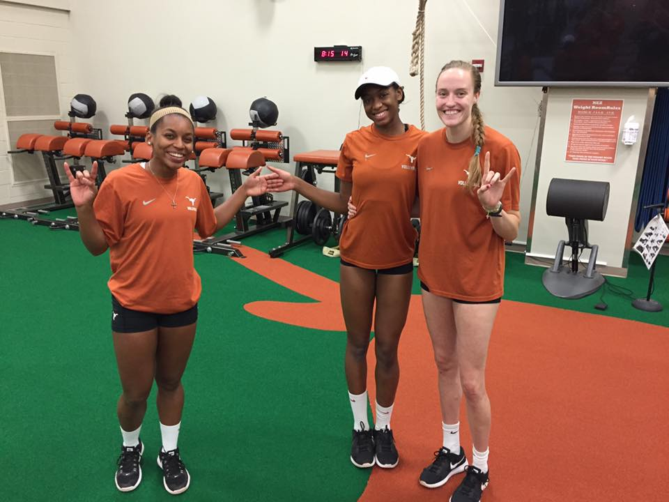 Chloe Collins, a fourth year Communication Studies student-athlete, poses with teammates after a weight lifting session.